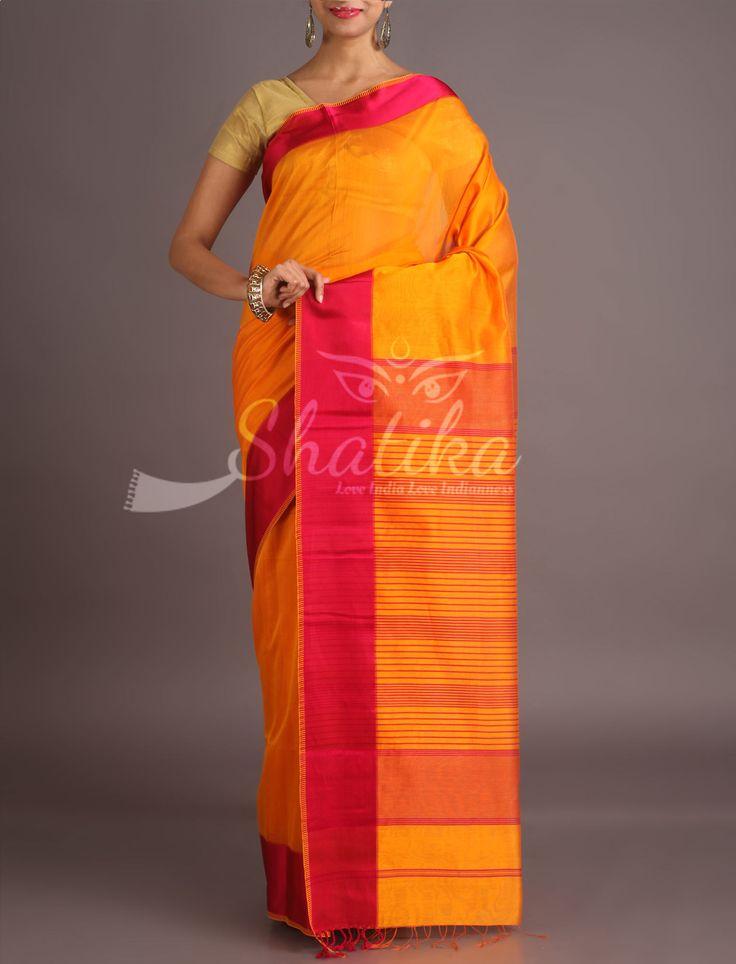 Jaya Luscious Yellow With Bright Pink Border Maheshwari Silk Cotton Saree