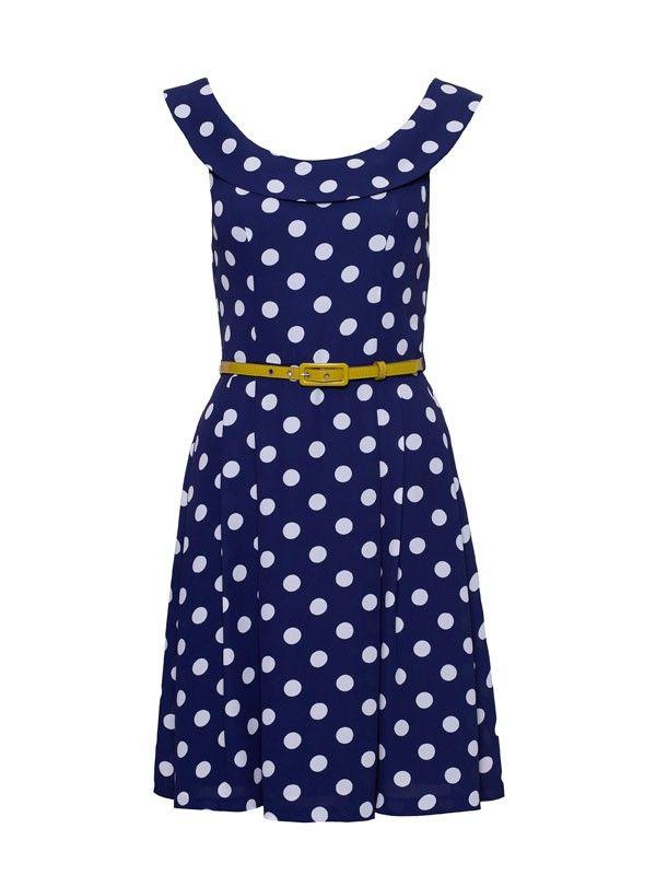 Review Australia | Tuscan Spot Dress Navy
