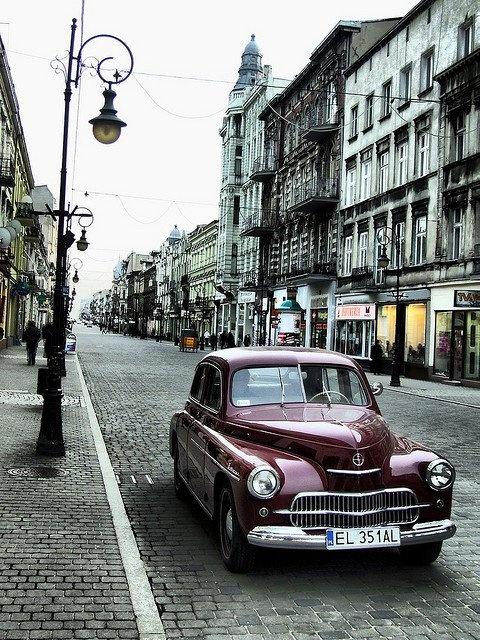 Warszawa w  Łodzi. Polish oldtimer 'Warsaw' in city of Lodz. Poland