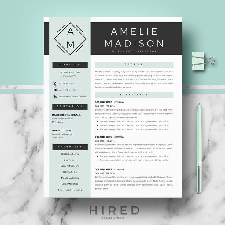 professional cv template for ms word and pages  creative resume template  resume templates