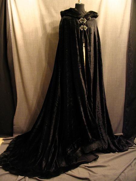 09017105 Cape Womens Long Black Velver Faux Fur Trim Jpg
