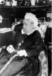 Queen Victoria crocheting in 1890  Actually she is knitting...see she has two needles.