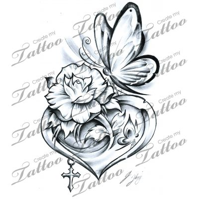 Marketplace Tattoo The Butterfly Heart #15499 | CreateMyTattoo.com