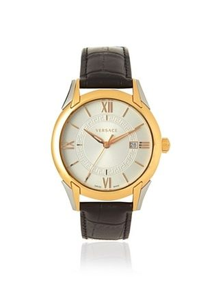 -86,800% OFF Versace Men's VFI020013 Apollo Gold-Tone Black Leather Watch