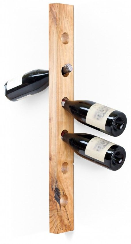 Wooden wine rack. Contains six bottles of wine. Made of one piece of wild cherry wood.  for polish orders: www.tulas.pl