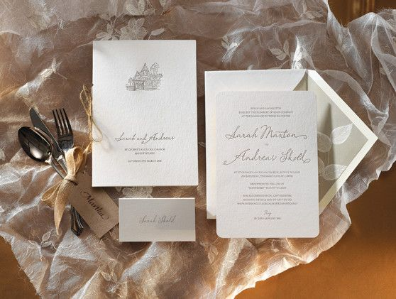 Letterpress wedding stationery. Our ever popular 'Esther' design. Letterpress printed in taupe ink on our stunning cotton 300gsm paper with rounded corners. Custom lined envelopes. Ceremony covers with custom illustration. Placecards.