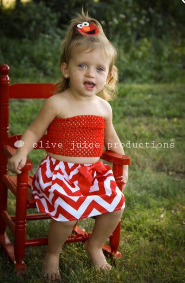 Baby Girls Boutique Handmade Red and White Chevron Cotton Skirt Crochet Red Top Gift Set with Elmo Hair Clip Clippie Little Girls Outfit by BabyGirlTutus on Etsy