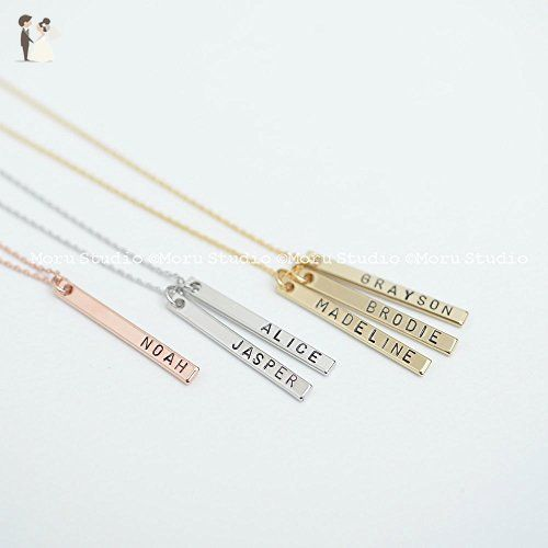 Mommy Necklace, Baby Name Vertical Bar Necklace, Personalized Bar Necklace, Custom Name Necklace, Gold, Rose gold, Silver Bar, Mom Grandma Kids Necklace NBR 086-1 - Bridesmaid gifts (*Amazon Partner-Link)