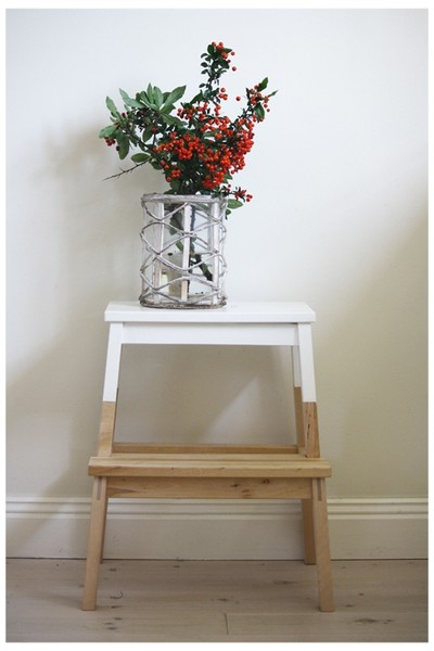 Dip dye ikea stool - doing this to mine! Book stacking stool for office