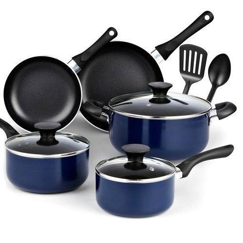 Nonstick Kitchen Cookware Set Aluminum Cooking Pans Dutch Oven Lid Blue 10 Pc  #NonstickKitchenCookwareSet