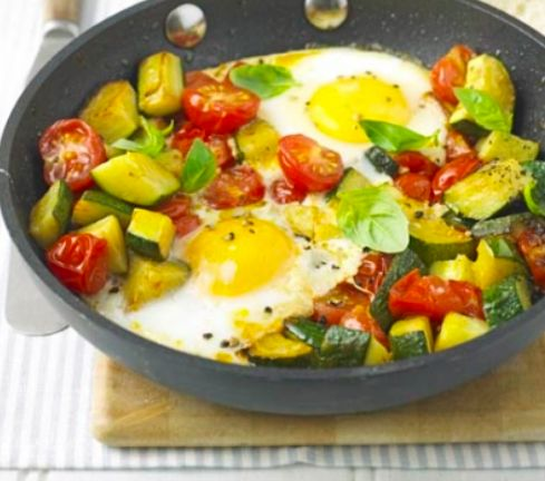Summer Eggs For 2 servings you will need  400g Courgettes, chopped into small chunks  200g Cherry Tomatoes, halved 1 Garlic Clove, crushed 2 Eggs 1 tbsp fresh Mint,  1 Small handful Basil leaves, chopped 1 tbsp Olive Oil Macro info per serving Protein 12g Carbs 7g Fat 13g Energy 196kcal