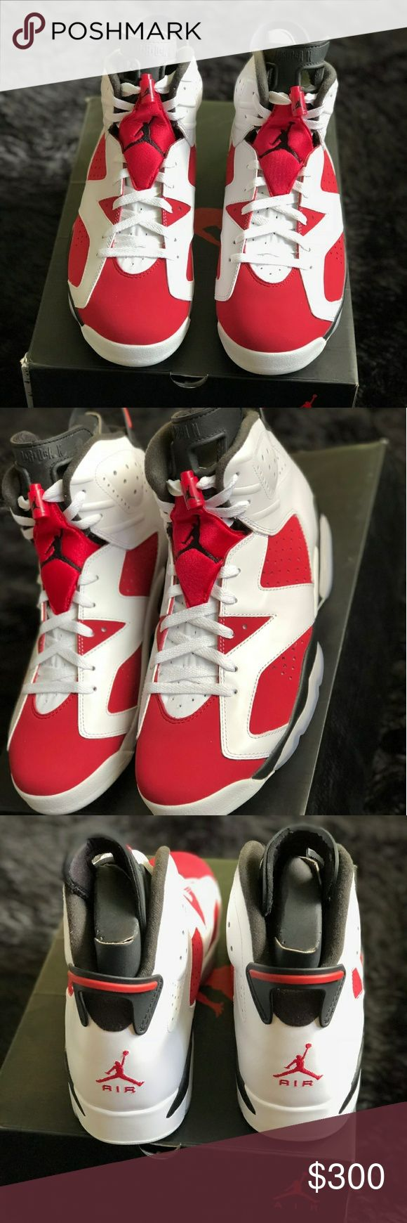 Jordan 6s Jordan Carmine 6s Size 11 Brand New Never Worn They Are Deadstock Comes With Box No Reciept Price Is 300 Because Of The Fees $400 On Flight Club. Jordan Shoes Sneakers