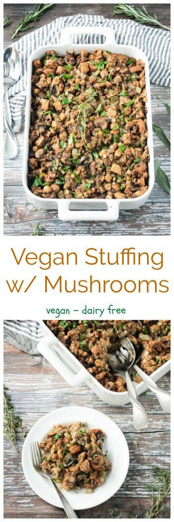 Vegan Stuffing with Mushrooms.  NOTE: I used this recipe, but instead of a loaf of bread, I used a smaller/half loaf and added a bag of TJs cauliflower rice!