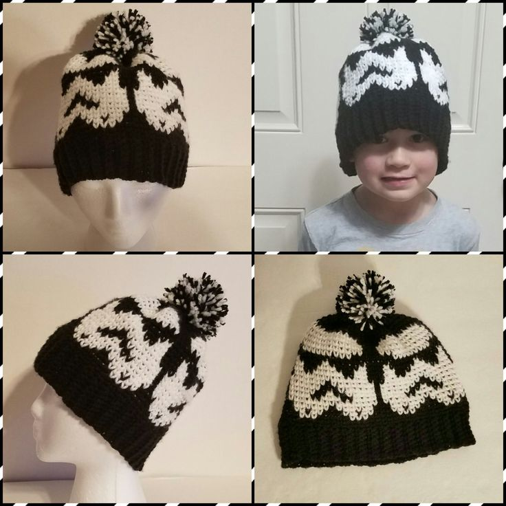 Knit-Look Crochet Star Wars Storm Trooper Hat/Made to Order by SLHandmadeDesigns on Etsy