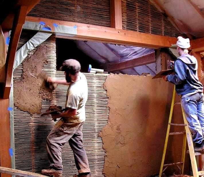 what about the interior walls? Wattle & daub, as shown in this photo from http://casedinbalotidepaie.ro/. It is one of the oldest building techniques, using any small, but strong, woven lattice with a clay, sand, straw mixture (similar to cob) pressed on top. The clay mixture pushes through all of the nooks & crannies, creating a great bond to the lattice, and a very strong, thin, and natural interior wall system.