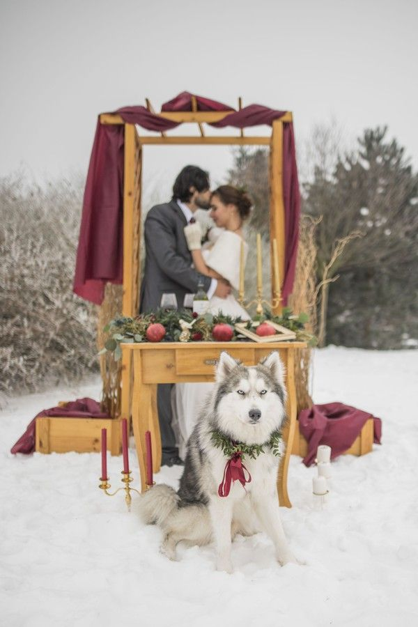 Romantic fairy tail winter wedding with wine red and gold details.