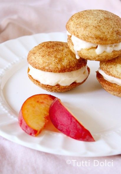 In honor of national ice cream sandwich day....today! Snickerdoodle Peach Frozen Yogurt Sandwiches.