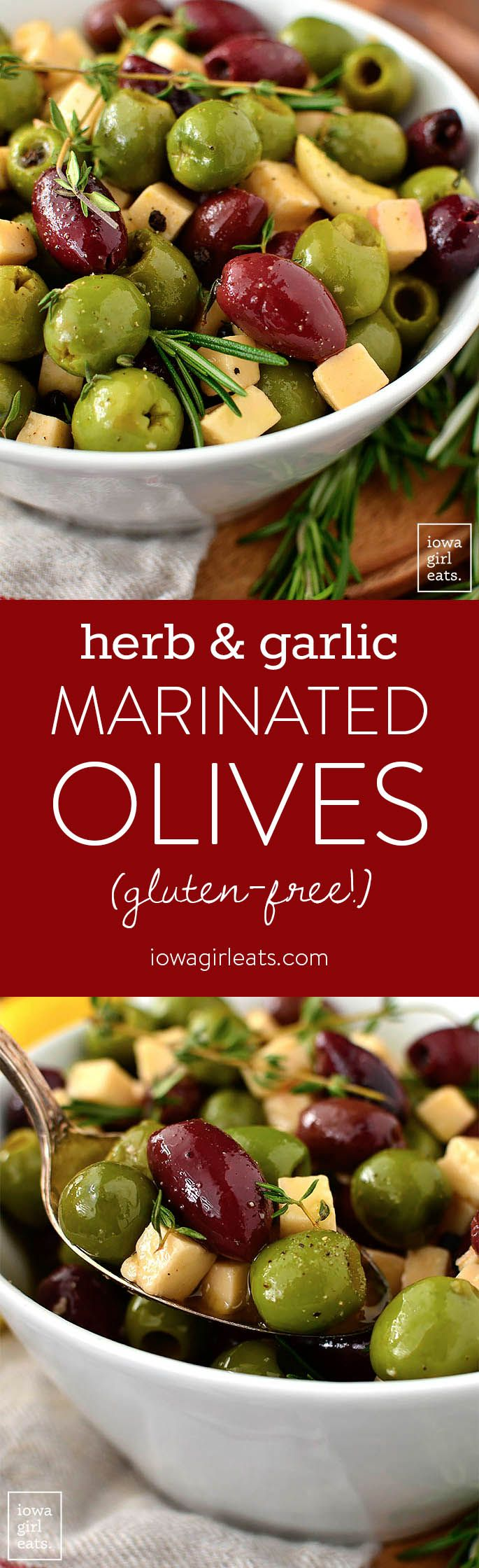 Herb and Garlic Marinated Olives are an easy yet impressive, gluten-free appetizer recipe you can whip together several days ahead of a party or get together.   iowagirleats.com #glutenfree