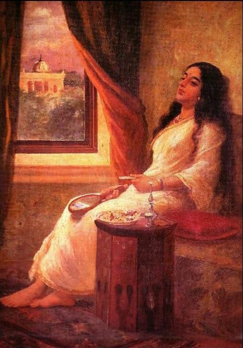 In Contemplation by Raja Ravi Varma in KENJI'S GALLERY OF INDIAN PAINTINGS