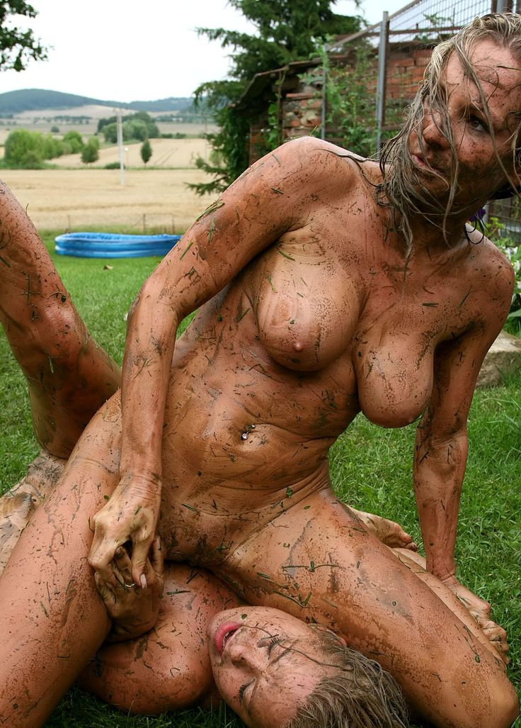 Mixed naked mud wrestling