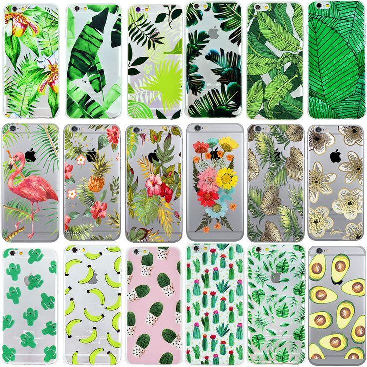 Ownest weiche silikon pflanzen kaktus bananenblätter case für iphone 7 7 Plus 5 5 S SE 6 6 s Transparent Klar TPU Phone Cover-rückseite