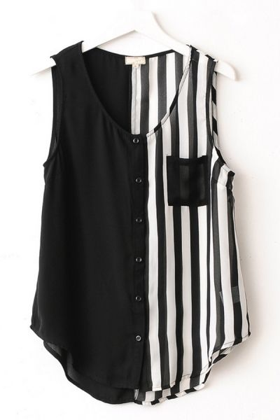 Striped Sleeveless Chiffon Shirt OASAP.com
