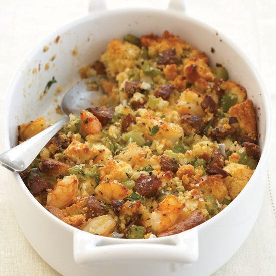 Corn Bread Stuffing with Shrimp and Andouille | Andouille, a spicy sausage made from pork chitterlings and tripe, adds a wonderful smoky note to the sweet corn bread stuffing.