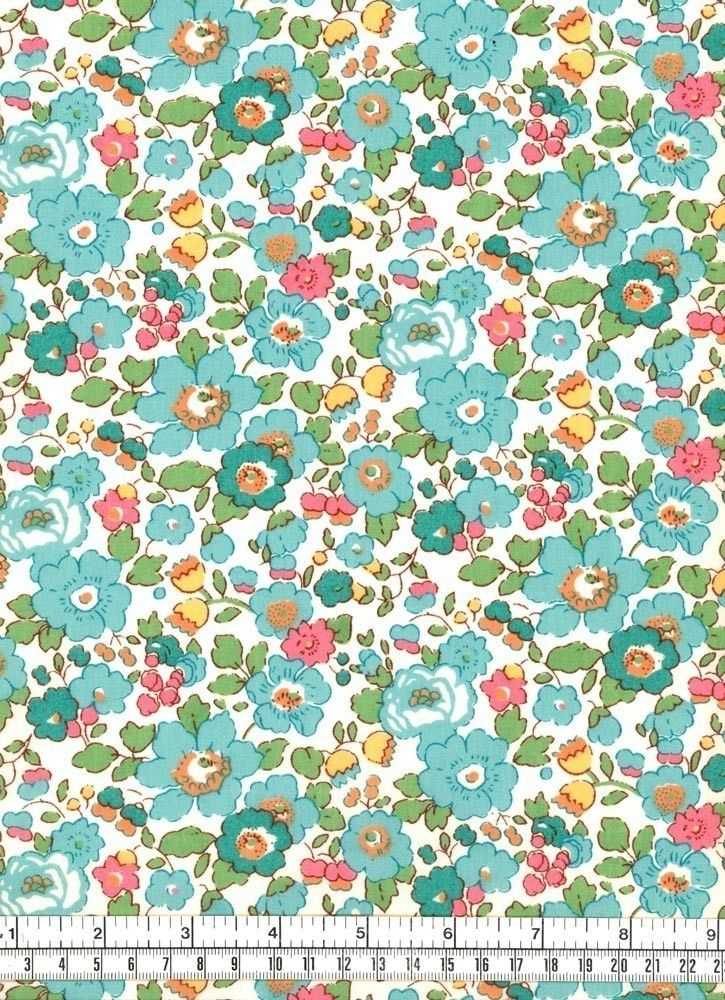 Liberty Tana Lawn Betsy Turquoise Fabric