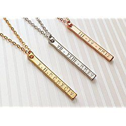A Roman Numerals Bar Necklace Personalized Bridesmaid gift Valentines day gift for her Graduation sister gift