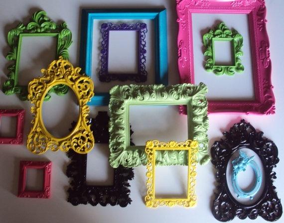 13 Ornate Open Picture Frames Garden Party Lime Green Fuschia Purple Yellow Aqua Wall Gallery Wedding Home Decor FUN Colorful Unique Variety