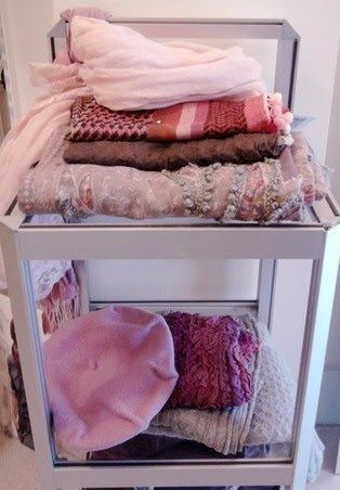 Pink scarves and beret