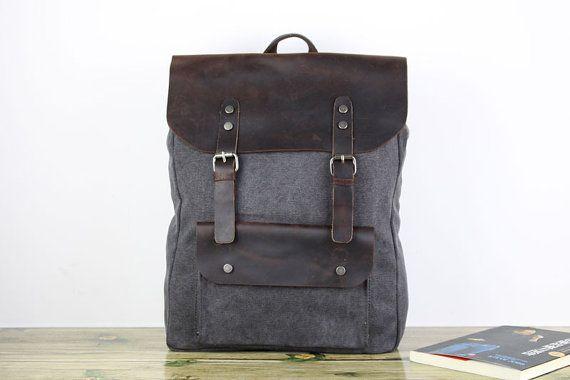 Gray book backpack/school backpack/rucksack/girl by onlysucre, $52.00