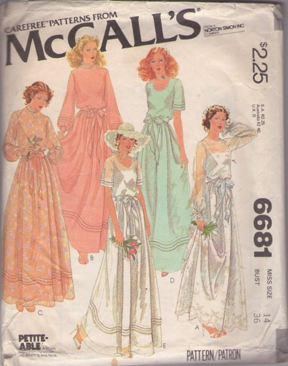 McCalls 6681 Vintage 70s Sewing Pattern PRISSY Sheer Lace & Pleats Details Garden Party Wedding Dress, Formal Gown