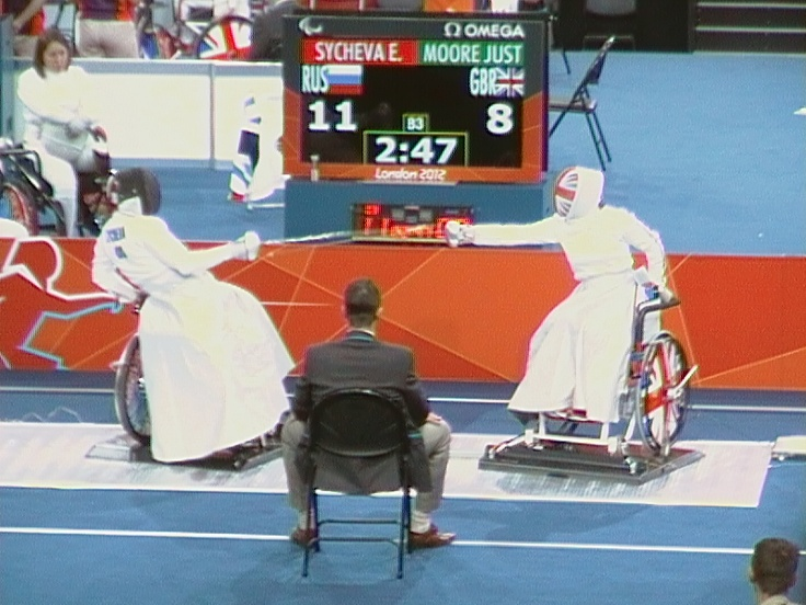 Here's member of the ParalympicsGB team Justine Moore taking on the Russian during the women's wheelchair fencing tournament at the London Games.