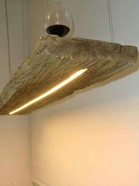 Lamp verwerken in houten planken