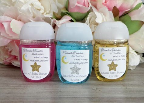 Twinkle Twinkle Little Star baby shower hand sanitizer favor label,Don't forget Twinkle Twinkle Little Star personalized napkins at www.napkinspersonalized.com