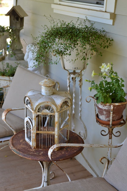 Bird Cage And Planters   Lovely Rusty Metal Vignette