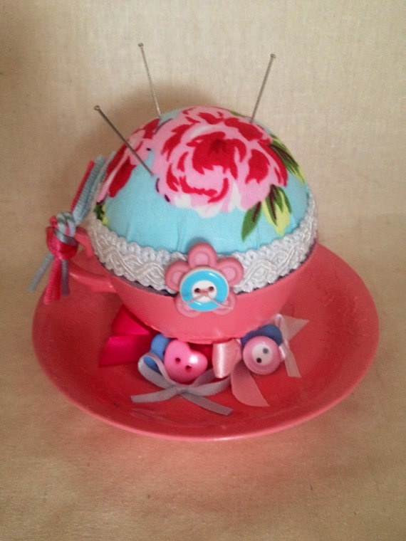 Pink and blue cup and saucer pin cushion. by DesignedbyDivas, $29.95