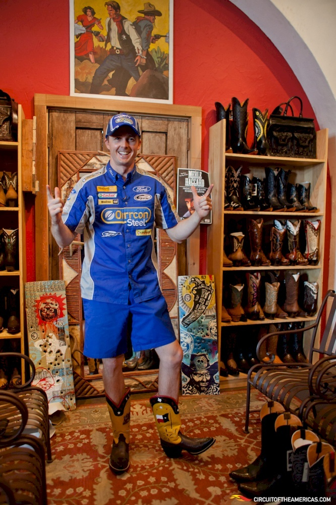 """Mark """"Frosty"""" Winterbottom, v8 Supercars Driver, shopping for cowboy boots in #Austin! #F1"""