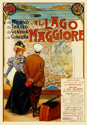 Al Lago Maggiore 1897 Italy - Beautiful Vintage Poster Reproduction. This vertical Italian travel poster features a couple looking at a map on a wall with luggage next to them and a ocean landscape picture above. Giclee Advertising Print. Classic Posters