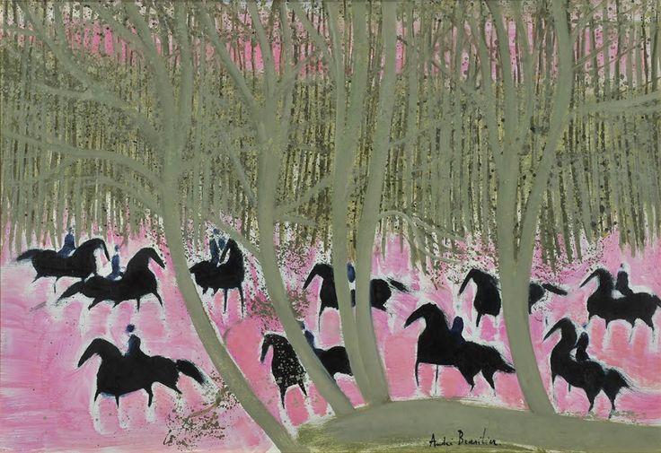 'Cavalcade en forêt' by André Brasilier, oil on canvas: 50 x 73 cm, signed.  http://www.johnadamsfineart.com/artists/brasilier-andre/