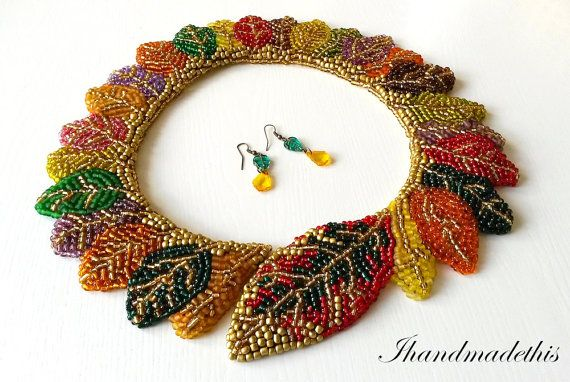 Autumns Golden Leaves beaded statement necklace by Ihandmadethis