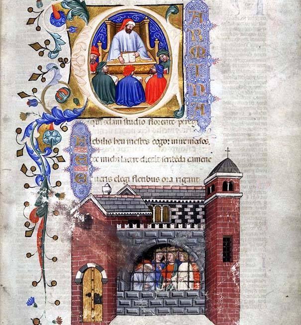 """""""Boezio insegna agli Studenti"""" e """"Boezio imprigionato"""". Miniature dal """"De Consolatione Philosophiae"""" composto a Pavia, in Italia, nel 1385 e manoscritto dai due scriba: frate Amedeo e Gregorio di Genova. Biblioteca Università, Glasgow, Scozia"""