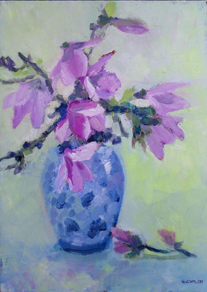 Cécile Chalot - bouquet de magnolias dans un vase bleu huile sur toile 70*50 cm