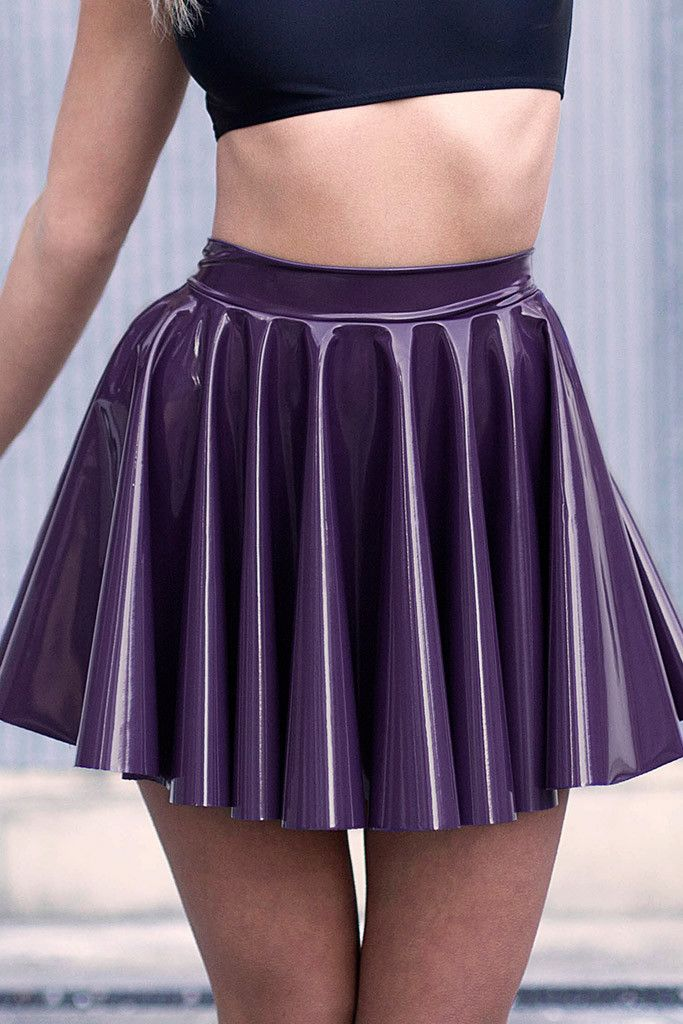 Cyber Grape Cheerleader Skirt - LIMITED pleated purple latex pvc skater skirt casual