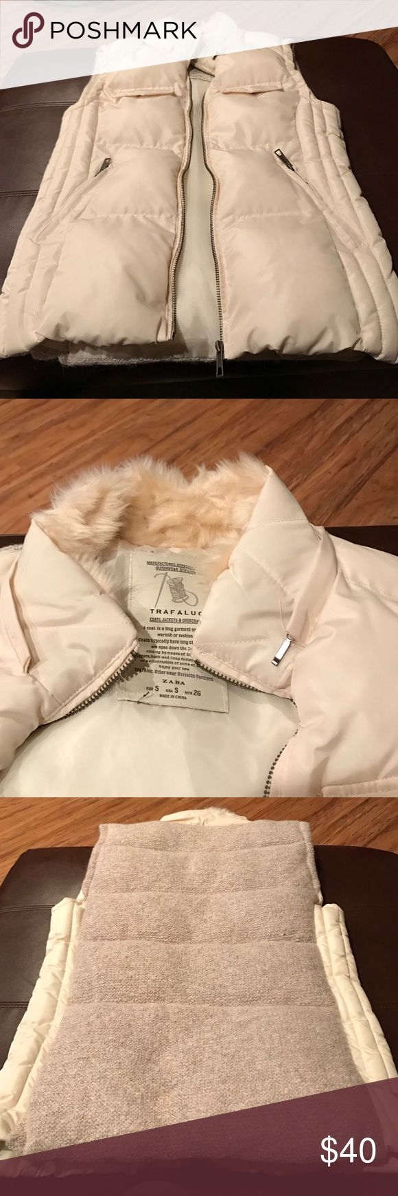 Nude vest Women's size small nude puffy vest. Worn only once and is in very good condition and looks new. No stains or marks. Zara brand. Zara Jackets & Coats Vests