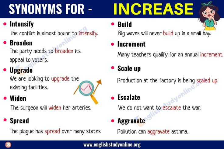 Increase Synonym List of 20+ Useful Synonyms for the Word