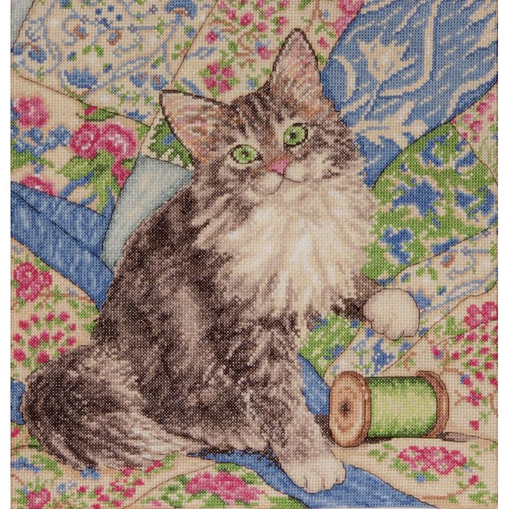Cat On Quilt Counted Cross Stitch Kit12inX12in 14 Count