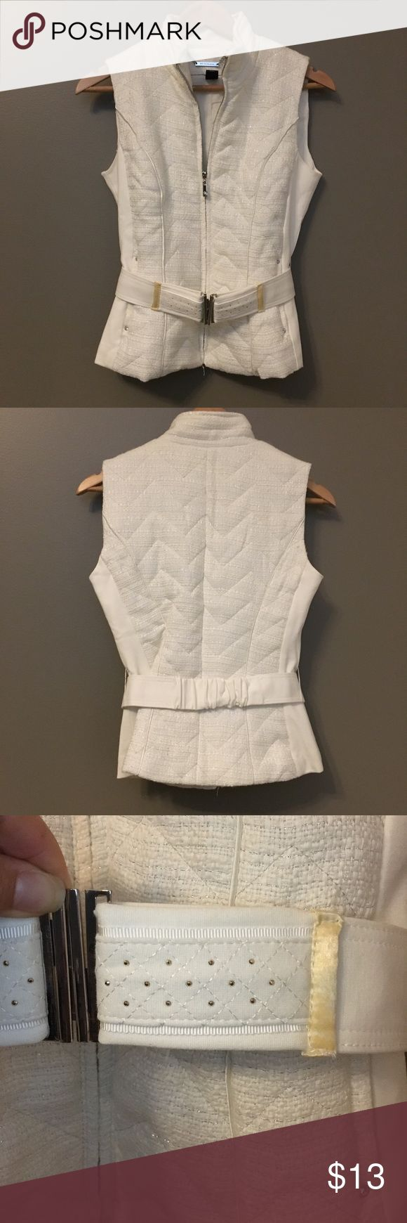 White House Black Market beige vest. Beige vest with slight silver shimmer. Rhinestone accents on vest and belt. Worn once. Slight yellowing of belt. White House Black Market Jackets & Coats