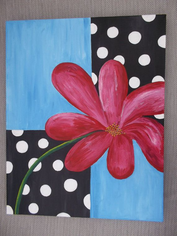 flower red daisy black and white polka dot painting hand painted acrylic on canvas